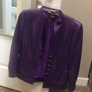 Escada bright purple leather jacket